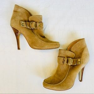 """Tory Burch """"Belen"""" Suede Ankle Boots in Royal Tan"""